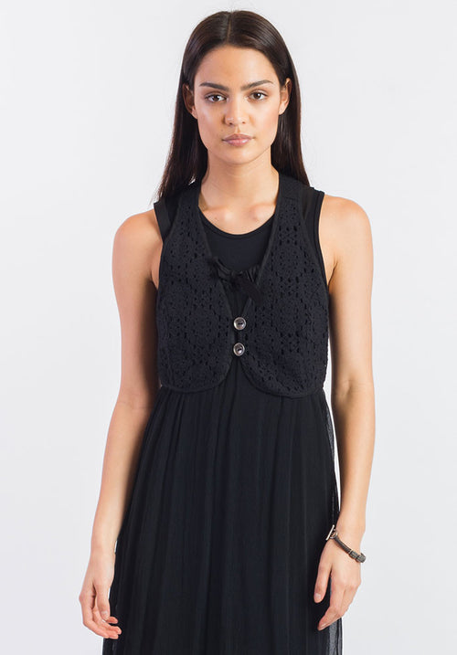 Thread vest black cotton lace