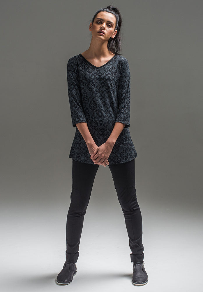 Viv 3/4 top black print | Eco-Friendly Fashion | Ethical Clothing
