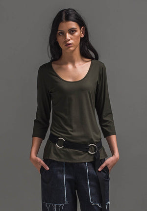 Yvette 3/4 top olive | Bamboo Jersey Tops | Ethical Eco-Fashion