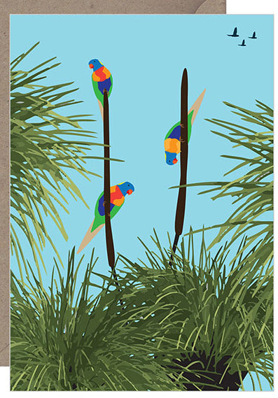 Rainbow Lorikeets Xanthorrhoea Card
