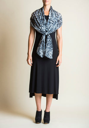 Watermark silk cotton scarf