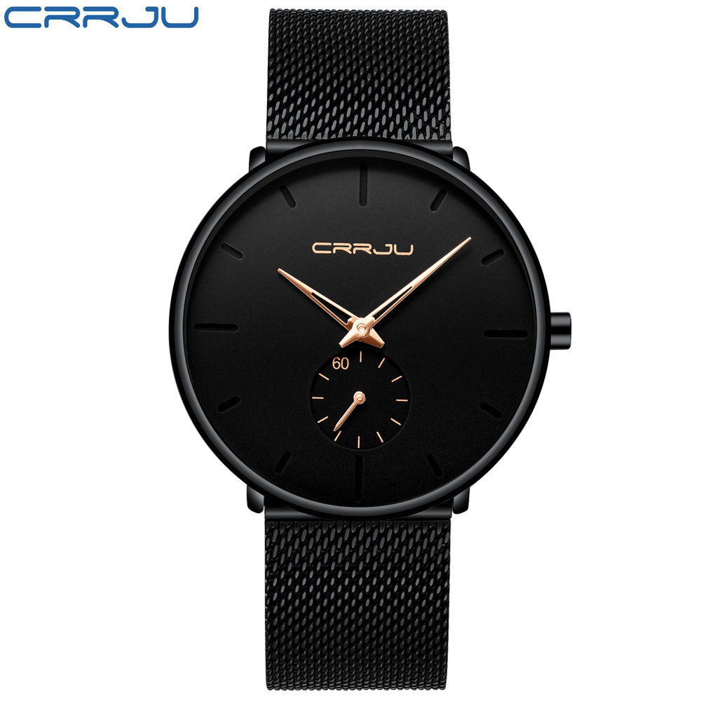 CRRJU Luxury Watch Stainless Steel Ultra Thin