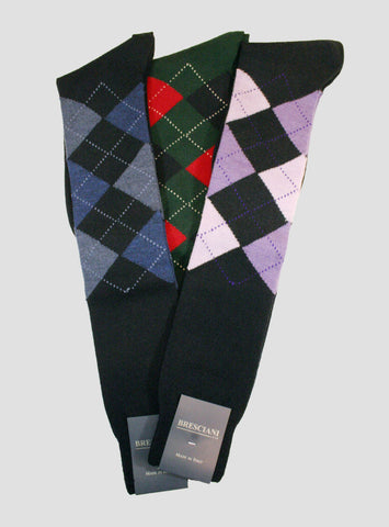 Bresciani Wool Argyle Over the Calf - Men's