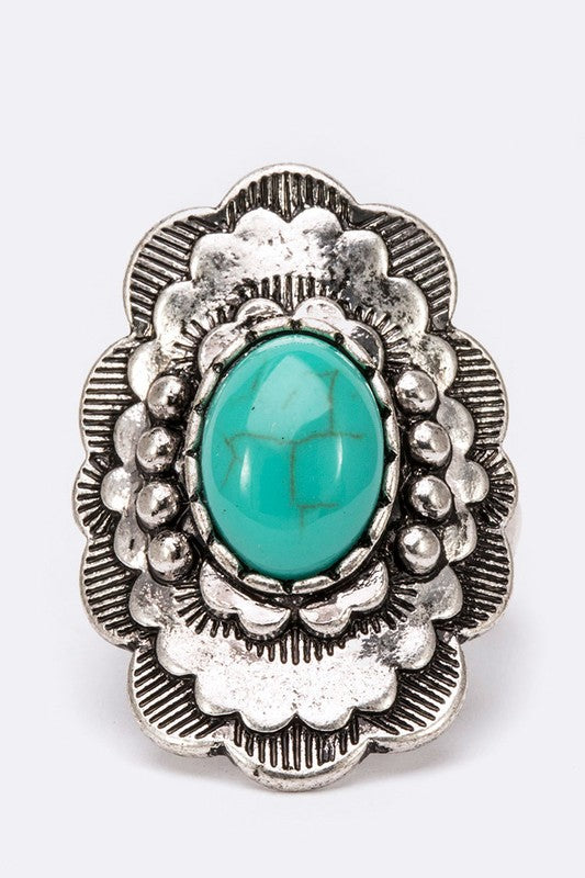 Turquoise Blossom Ring