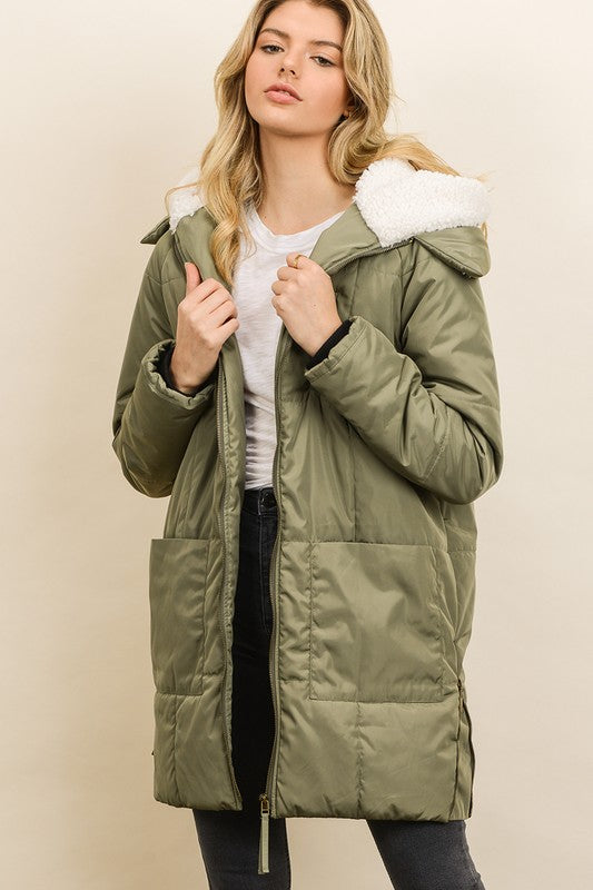 Sherpa Hooded Down Jacket
