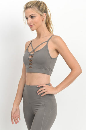 Double Criss Cross Front Sports Bra