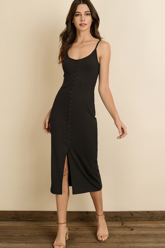 Ribbed Knit Midi Dress Black