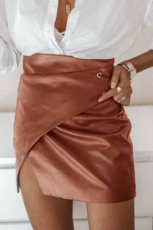 Kris Faux Leather Skirt