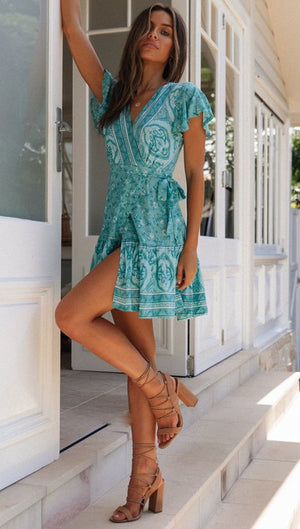 Keilina Wrap Dress Aqua