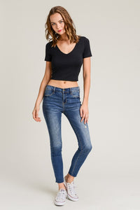 Gia Double Layered Crop Top Black