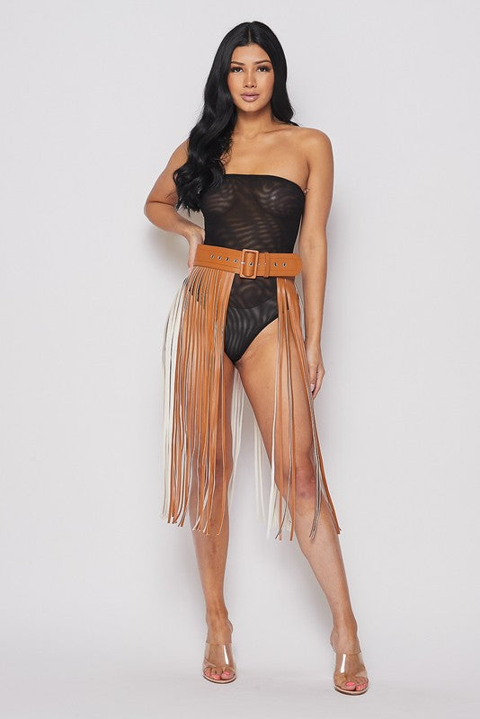 Festive Faux Leather Fringe Belt