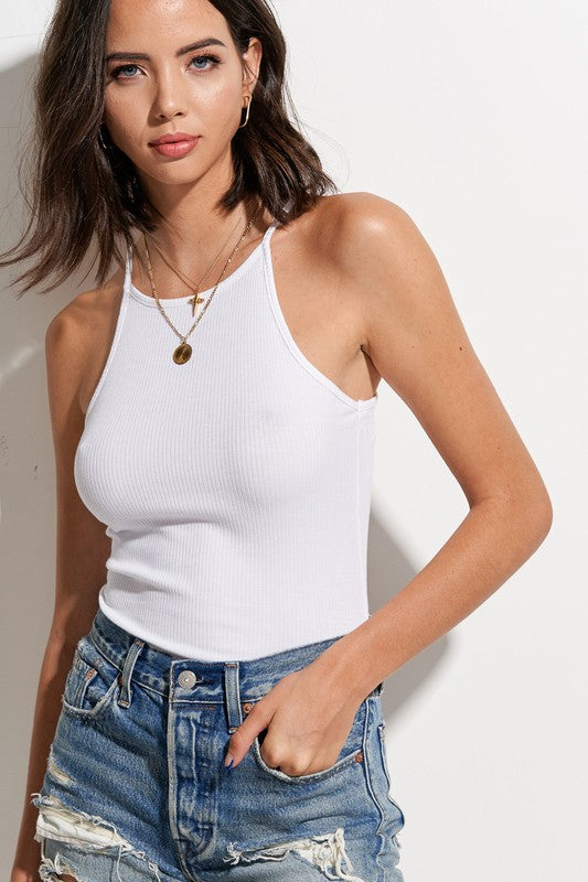 Carli Ribbed Tank White