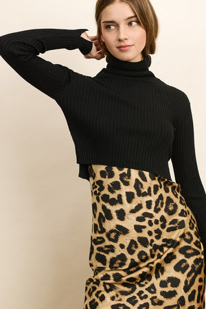 Joy Cropped Turtleneck Top