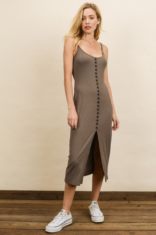 Ribbed Knit Midi Dress Mocha