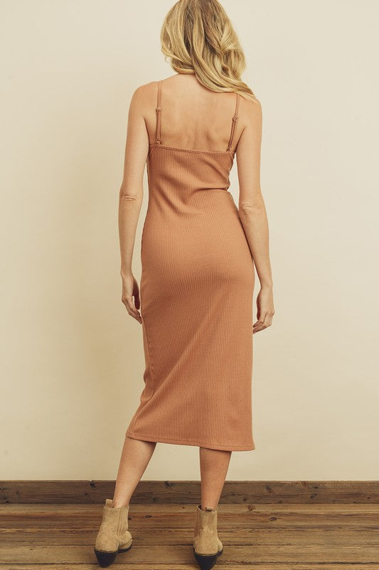 Ribbed Knit Midi Dress Sand