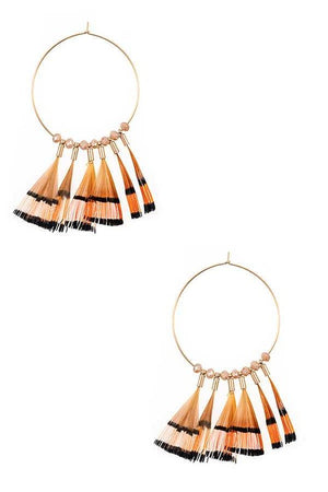 Round Feather Earrings