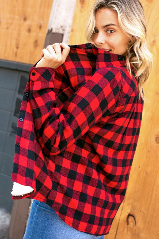 Ruby Flannel Top