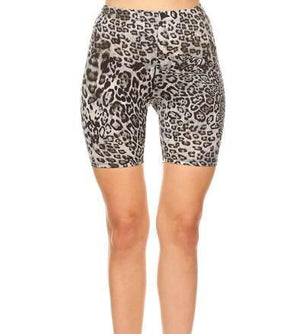 Grey Leopard Biker Shorts