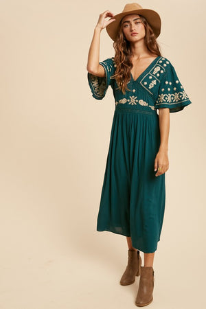 Temecula Embroidered Midi Dress Green