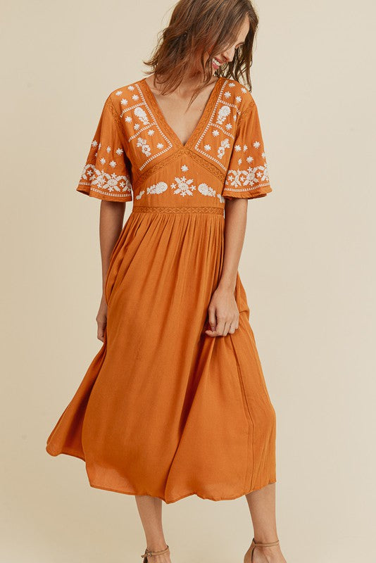 Temecula Embroidered Midi Dress