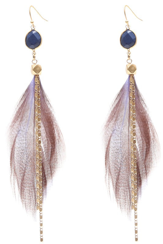 Stone & Chain Feather Earrings Navy