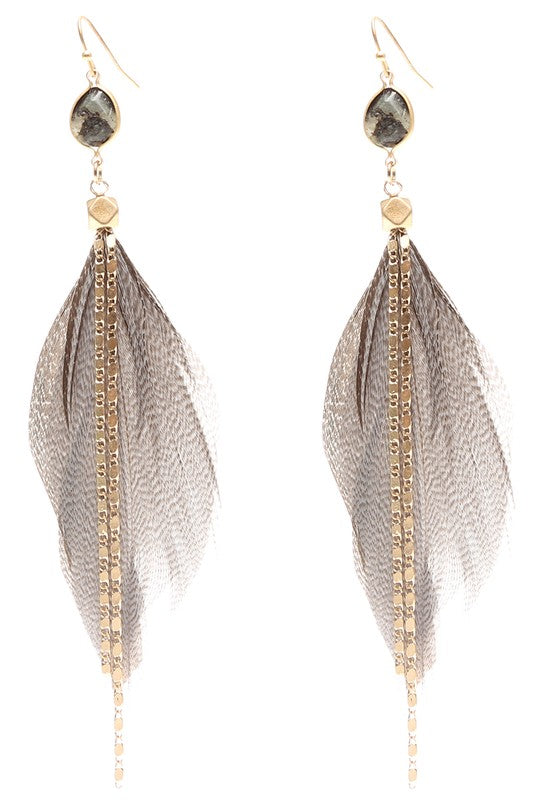 Stone & Chain Feather Earrings Grey