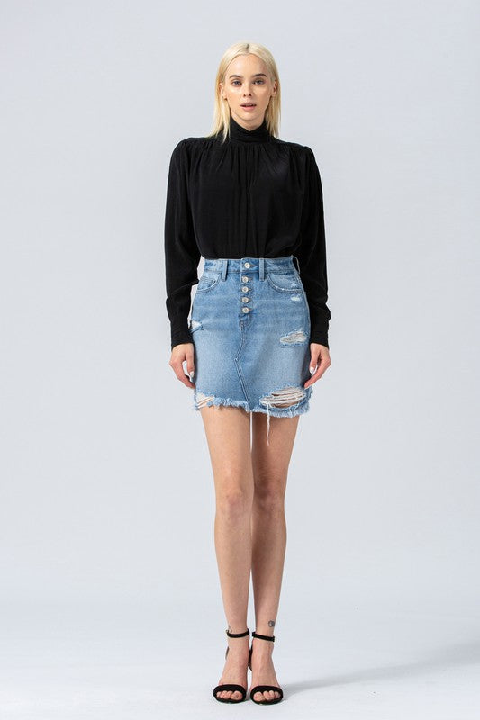 Claudia Distressed Mini Skirt