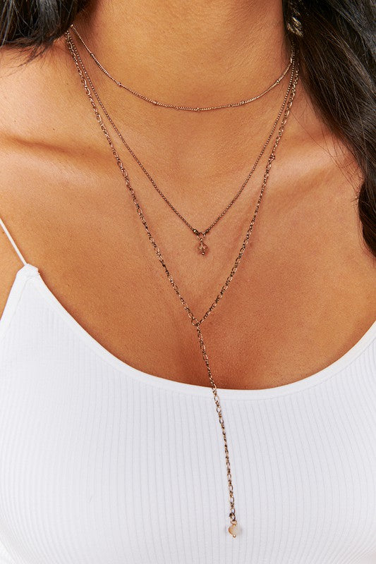Layered Beaded Lariat Necklace