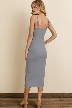 Ribbed Knit Midi Dress Dusty Blue