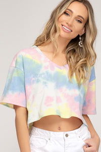 Tie Dye Crop Sweater Top