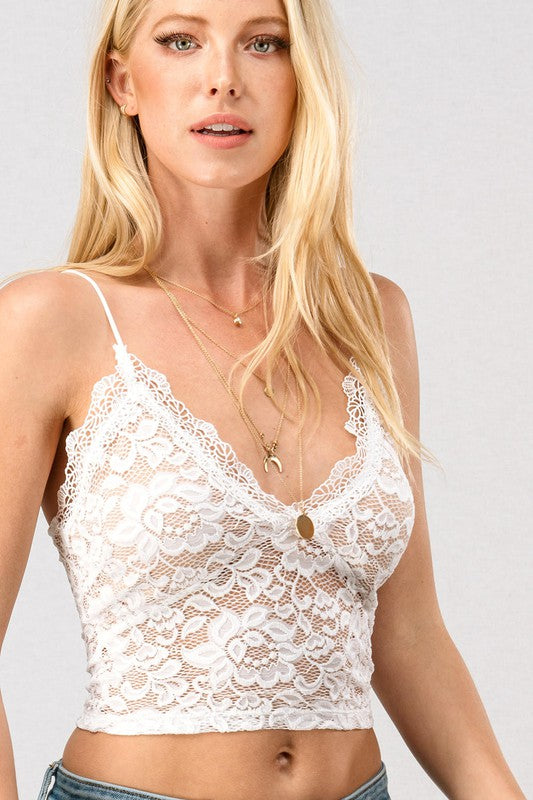 Gianna Lace Crop Top Ivory