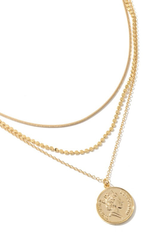Coin Layered Chain Necklace