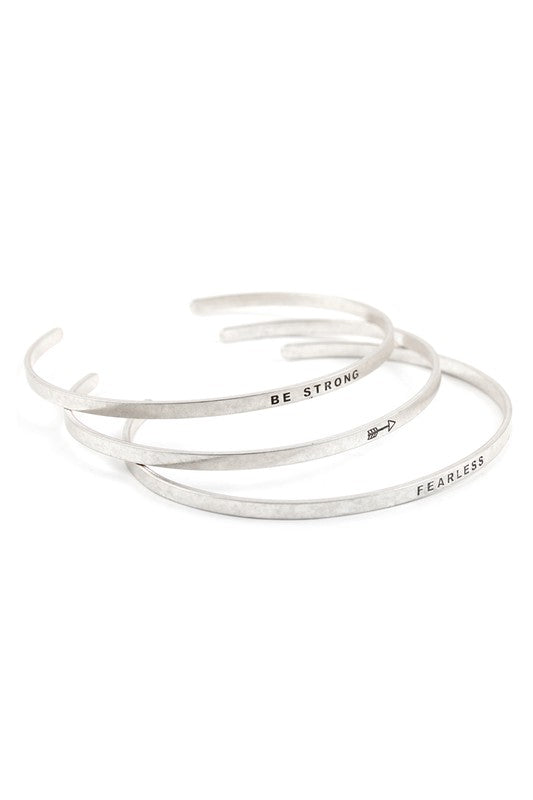 Be Strong & Fearless Bracelets Silver