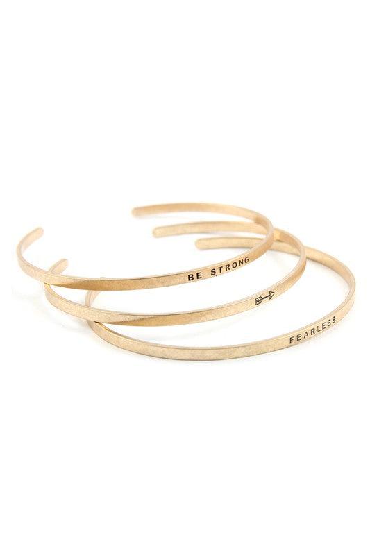 Be Strong & Fearless Bracelets Gold