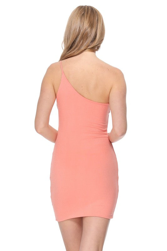 Cameron One Shoulder Ribbed Dress Coral