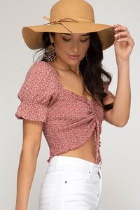 Juliana Floral Top Red