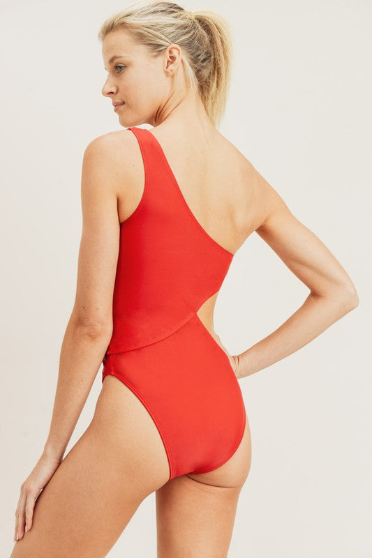 Red Hot Cutout One Piece