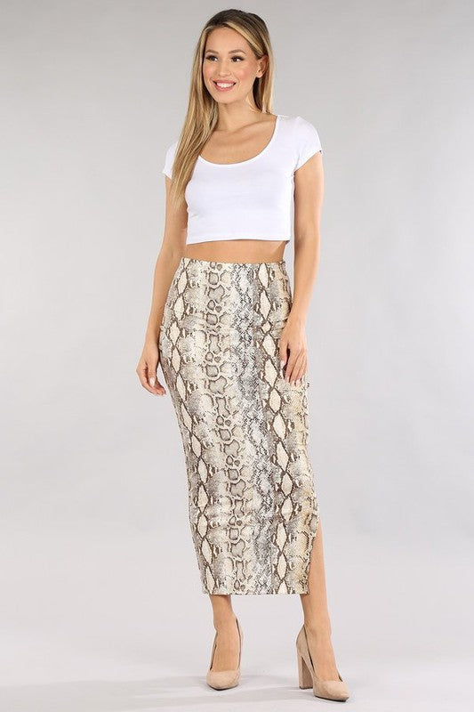 Savannah Snake Print Skirt
