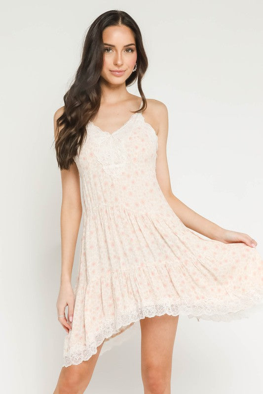Peach Floral Lace Dress