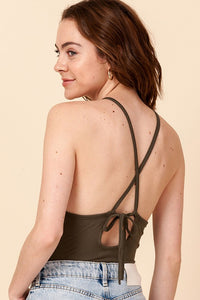 High Neck Cross Back Bodysuit
