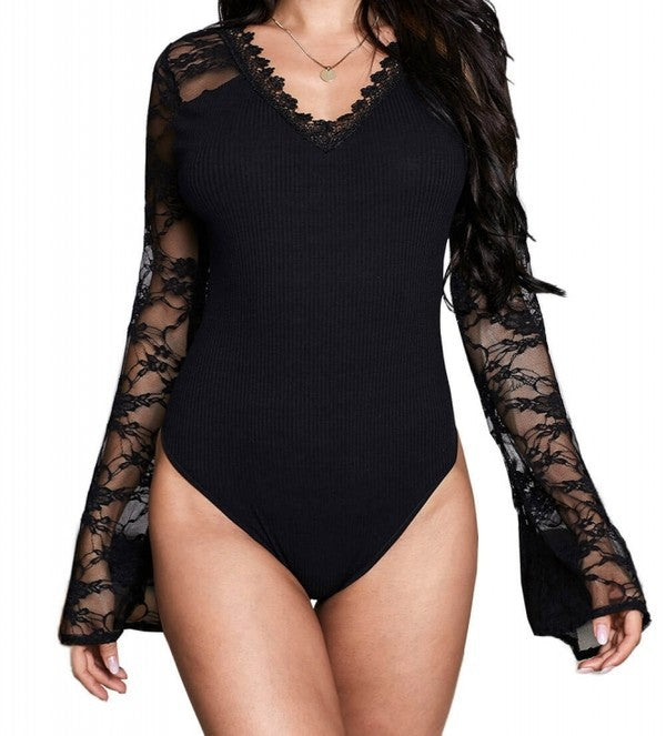 Bell Sleeves Lace Bodysuit