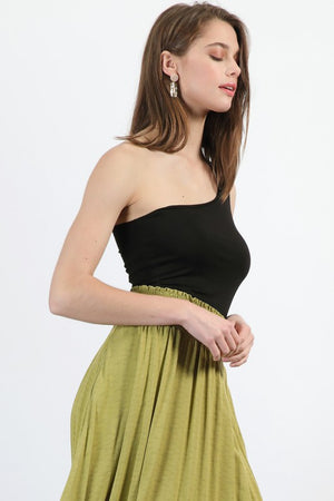 Anna One Shoulder Tank Black