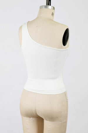 Anna One Shoulder Tank Ivory