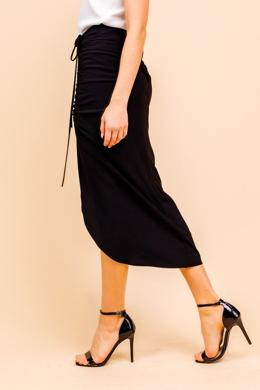 Devon Ruched Midi Skirt