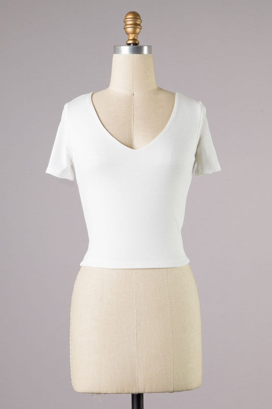 Gia Double Layered Crop Top Ivory