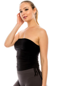 Ruched Bandeau Tube Top Black