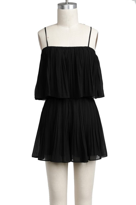 Alexa Pleated Romper Black