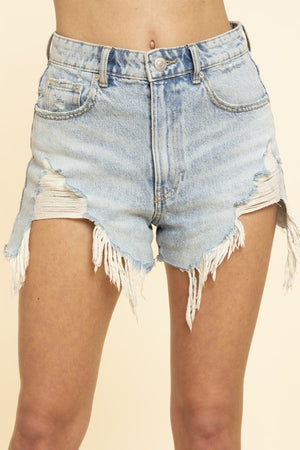 Clayton Frayed Denim Shorts Lightwash