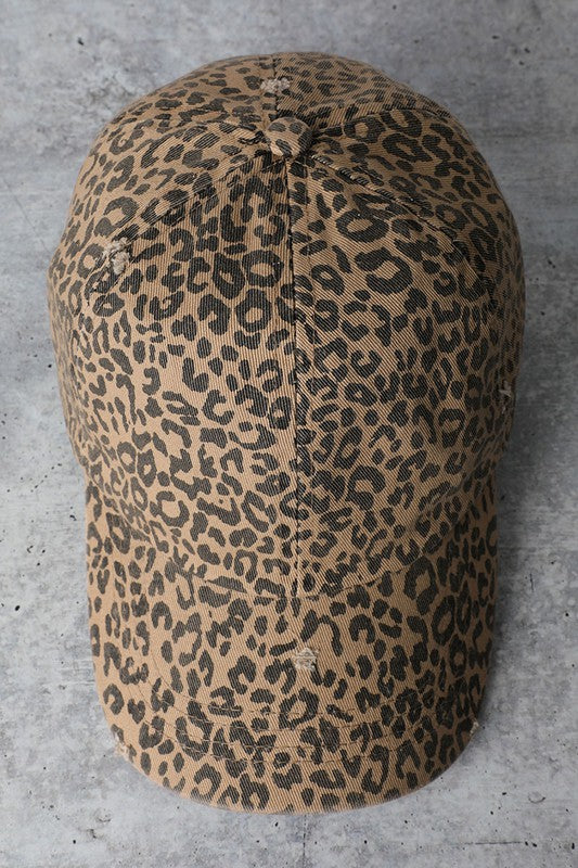 Leopard Distressed Baseball Cap