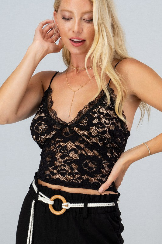 Gianna Lace Crop Top Black